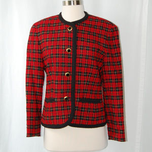 {Pendleton} Red Plaid Wool Button Blazer Size 6